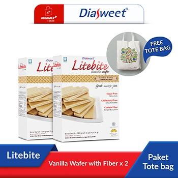 Diasweet Litebite Vanilla Wafer with Fiber 2 Dos bonus Toteb
