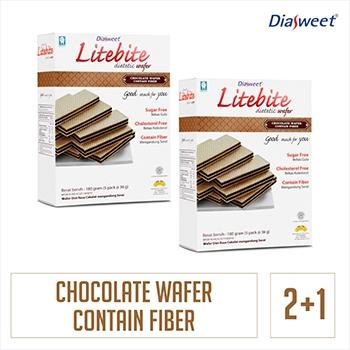 Diasweet Litebite Wafer Coklat 2 Dos bonus 1