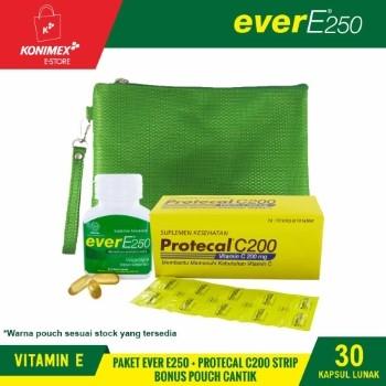 Ever E250 Vitamin E Botol 30 + Protecal C200 Strip + Pouch