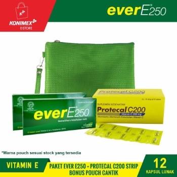 Ever E250 Vitamin E Doos 12 + Protecal C200 Strip + Pouch